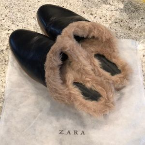 bf48fa80ede Zara Shoes - Zara Flat Backless Mules Faux Leather   Fur Size41